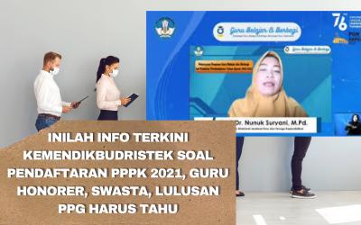 Inilah Info Terkini Kemendikbudristek soal Pendaftaran PPPK 2021, Guru Honorer, Swasta, Lulusan PPG Harus Tahu